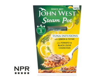 john west new steam pots tuna infusion tomato & black pepper with couscous